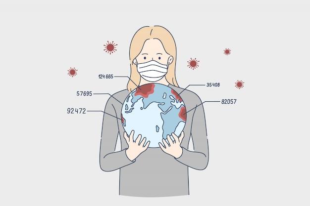 レポート、バイオハザード、コロナウイルス、危険の概念。