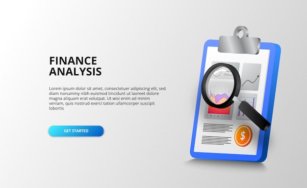 Report data chart analysis with clipboard and magnifying glass for audit, accounting and check for finance, banking, business, and office. landing page template