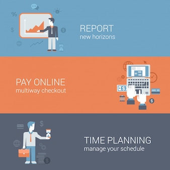 Report presentation, pay online internet payment, time planning business technology concepts flat design   illustrations set.