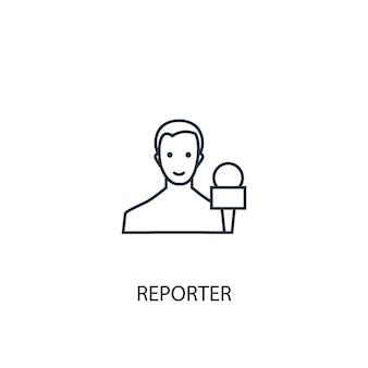 Значок линии концепции репортер. простая иллюстрация элемента. репортер концепция наброски символ дизайн. может использоваться для веб- и мобильных ui / ux