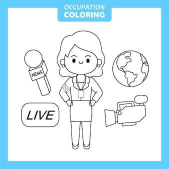 Reporter job occupation coloring page