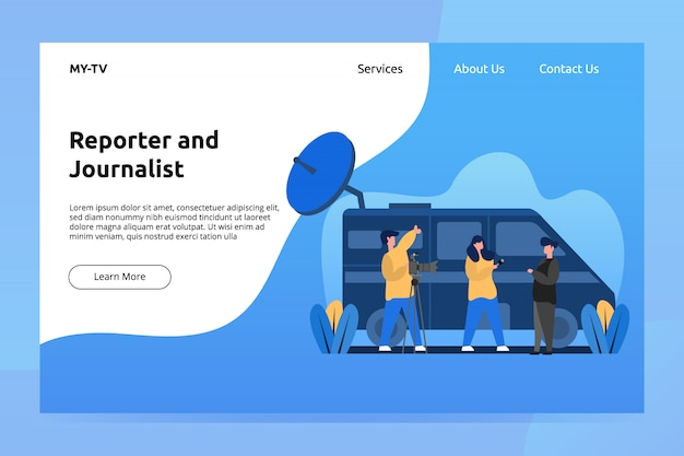 Reporter and journalist banner and landing page illustration