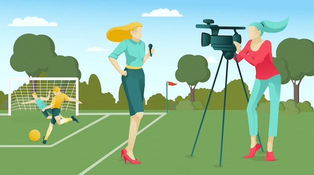 Reporter and operator broadcasting football match