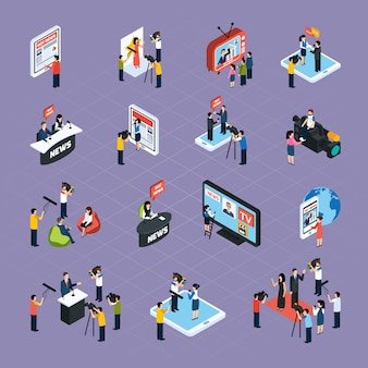 Reporters isometric icons set