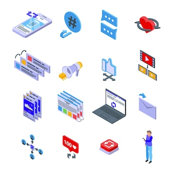 Repost icons set. isometric set of repost icons for web design isolated on white background