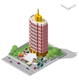 호스텔 또는 호텔 건물을 나타내는
