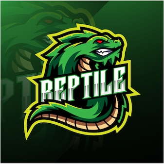 爬虫類スポーツマスコットロゴ