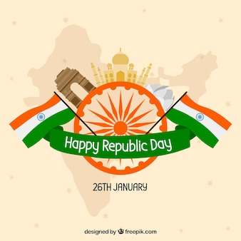 Republic day background with monuments