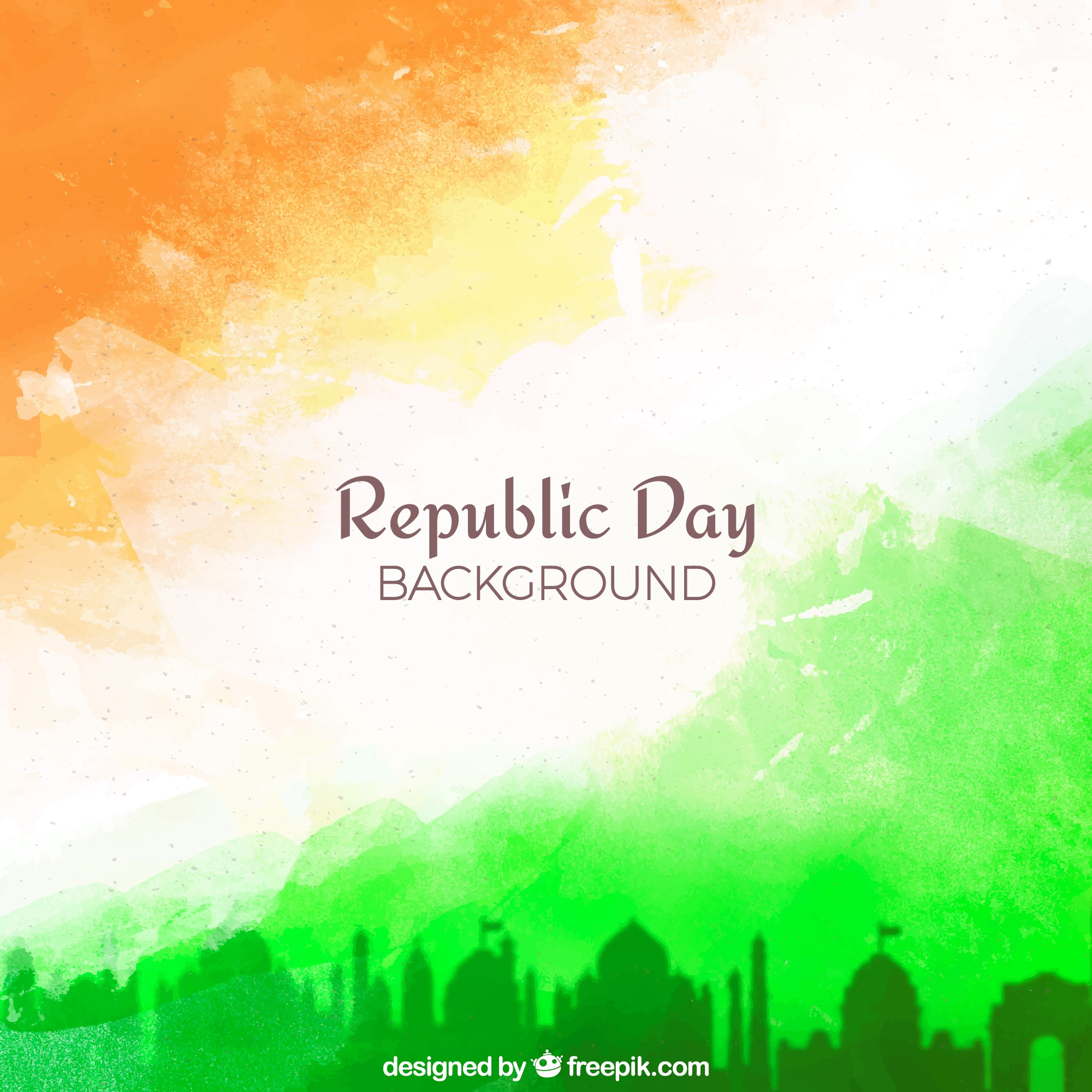Republic day background with watercolor