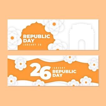 Banner festa della repubblica in stile carta