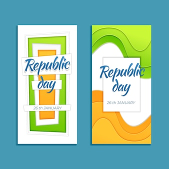 Republic day banner in paper style