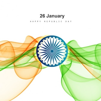 Republic day card with modern waves