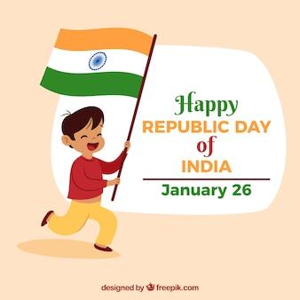 Republic day design with happy boy