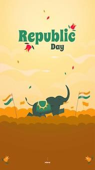 코끼리와 인도 삼색이있는 공화국의 날 국가 인도 휴일 소셜 미디어 이야기 템플릿.