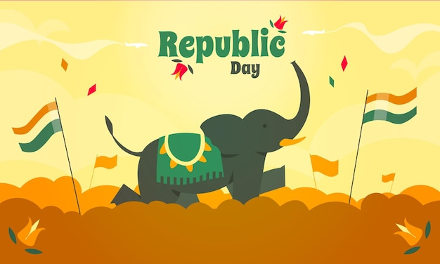 코끼리와 인도 삼색기가있는 공화국의 날 국경일.
