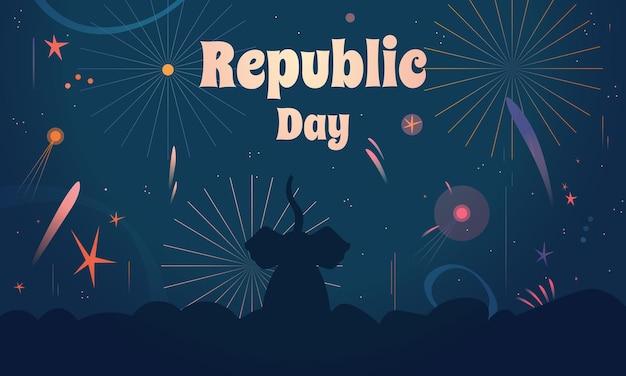 花火を見ている象と共和国記念日インド国民の祝日。