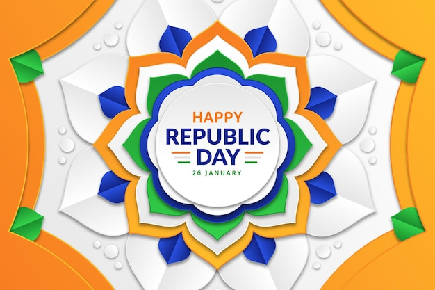 Republic day in paper style