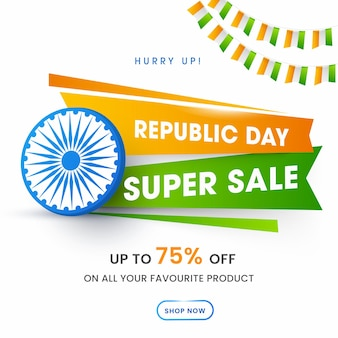 Republic day super sale poster design with 75% discount offer