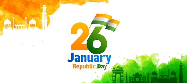 Republic day text with indian flag, saffron and green watercolor effect india famous monuments on white background.