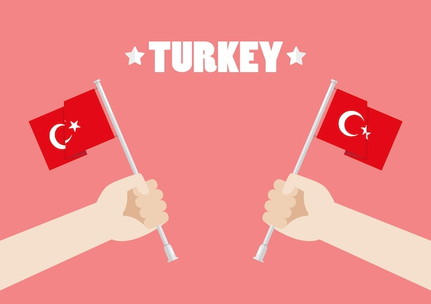 Republic day of turkey with hands holding up turkey flags