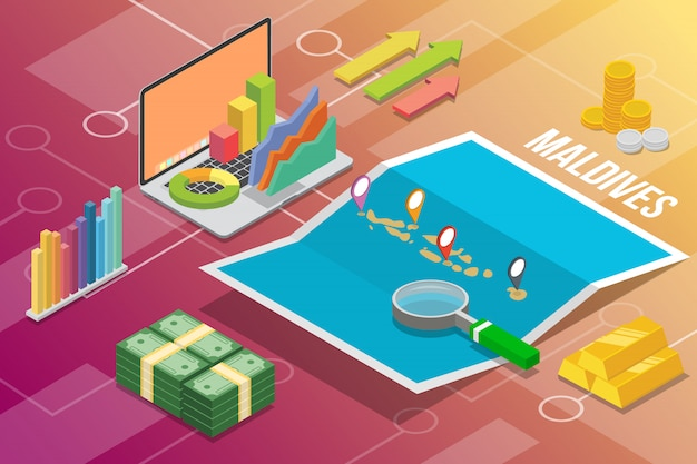 Republic of maldives isometric business economy growth country