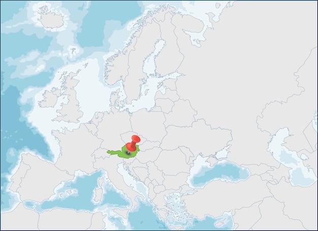 オーストリア共和国のヨーロッパ地図上の位置
