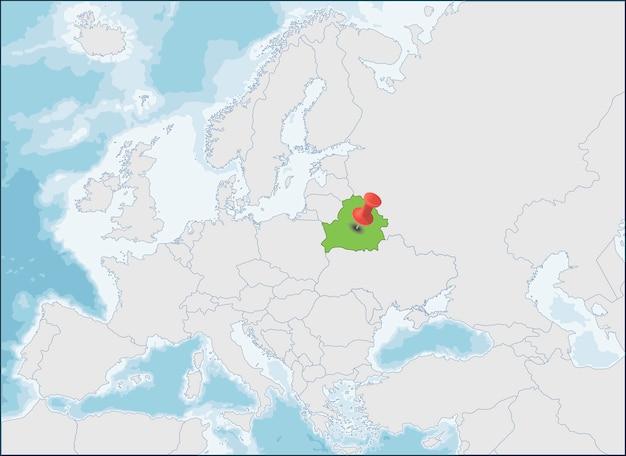 ヨーロッパ地図上のベラルーシ共和国の位置