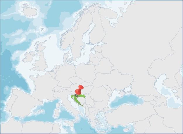 ヨーロッパ地図上のクロアチア共和国の場所