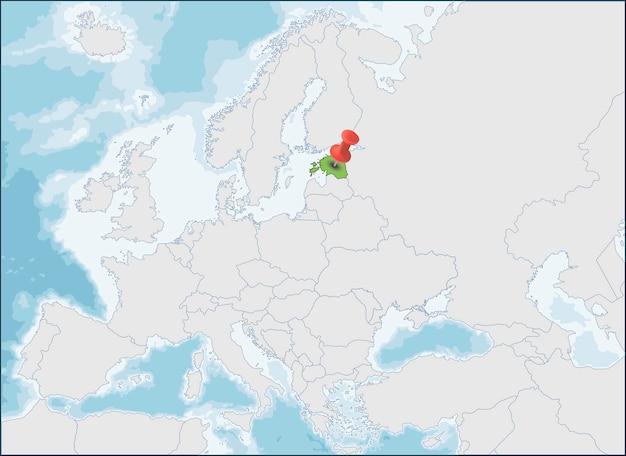 ヨーロッパマップ上のエストニア共和国の場所