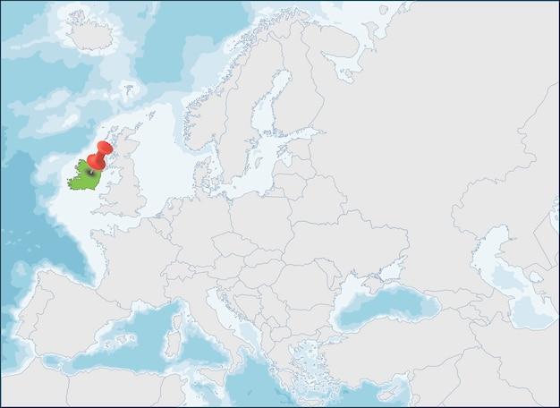 ヨーロッパ地図上のアイルランド共和国の場所