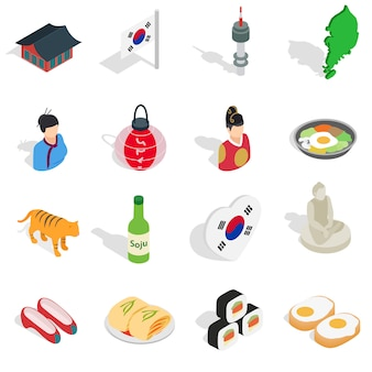 대한민국 아이콘 아이소 메트릭 3d ctyle에서 설정합니다. 한국 컬렉션 벡터 일러스트 레이 션 설정