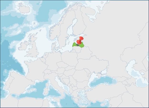 ヨーロッパ地図上のラトビア共和国の場所