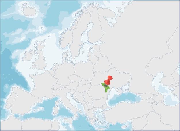 モルドバ共和国のヨーロッパ地図上の位置