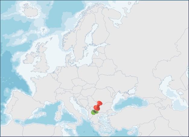 北マケドニア共和国のヨーロッパ地図上の位置