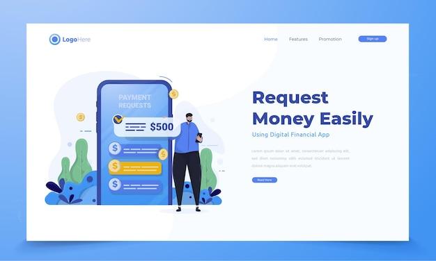 금융 모바일 앱 개념을 사용하여 쉽게 돈 요청