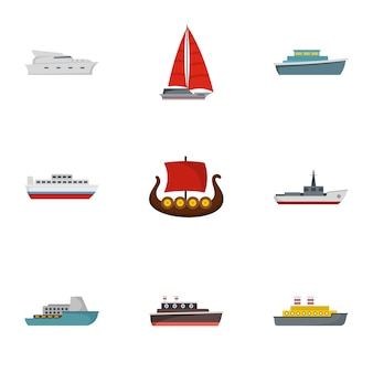 Rescue boat icons set, flat style