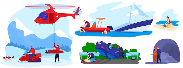 Rescue disaster vector illustration flat set. cartoon rescuer team save injured character from accident, lifesaver in emergency medical hospital transport rescuing people