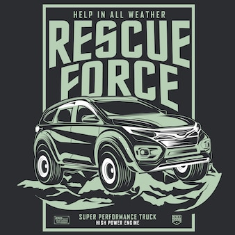 Rescue force, poster of adventure car