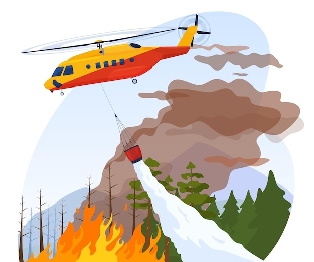 A rescue helicopter extinguishes a forest fire