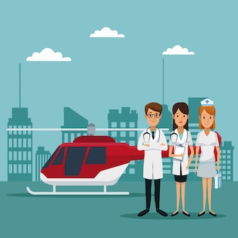 Rescue helicopter and staff specialist doctors