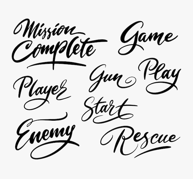 Rescue play game handwriting calligraphy