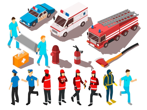Rescue service isometric set
