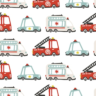 Rescue services cars seamless pattern, childish illustration in scandinavian simple hand-drawn style.