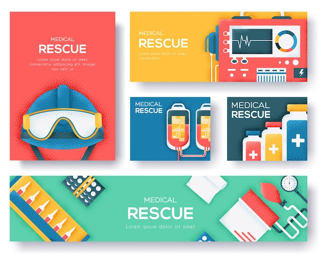 Rescue set of banners