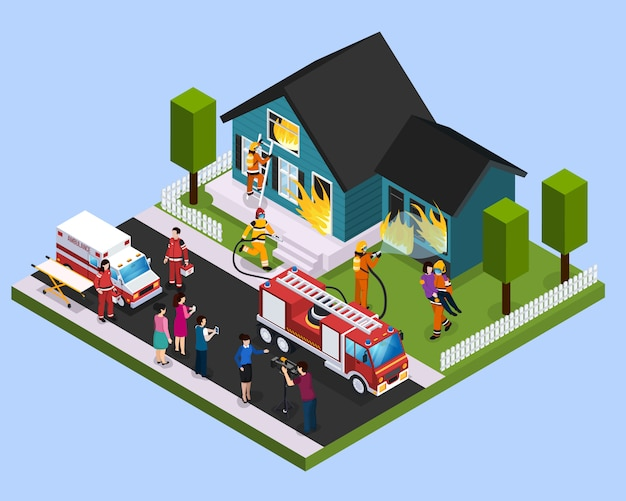 Rescue team isometric composition