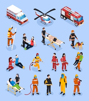 Rescue teams isometric set