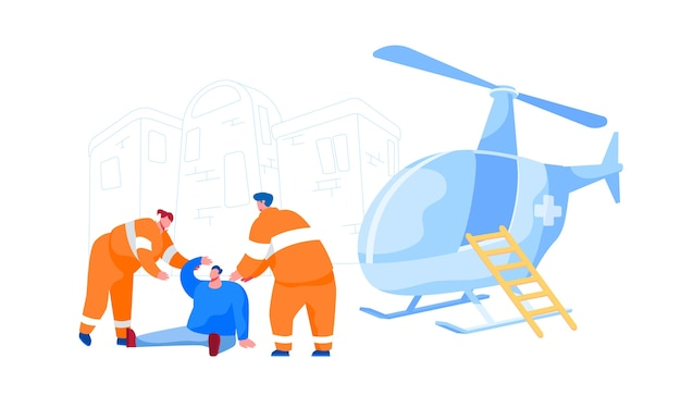 Rescuer characters in uniform help injured man on street for transporting to hospital. emergency helicopter ambulance, first aid transport for medical personnel. cartoon people