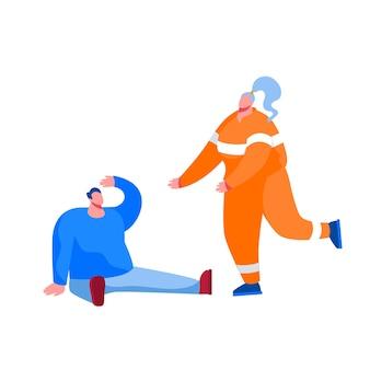 地面に座っている負傷した男性を助けるために走っているオレンジ色の制服を着た救助者の女性キャラクター。救急車の緊急援助、犠牲者の救済、病気の人への応急処置。漫画