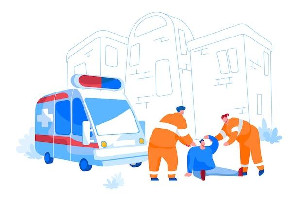 Персонажи-спасатели в оранжевой форме оказывают первую помощь раненому человеку, сидящему на земле на улице. неотложная скорая помощь, фельдшер, дорожно-транспортное происшествие. мультфильмы