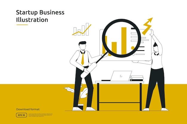 연구, 분석가 및 모니터링 비즈니스 투자 또는 재무 고문 개념. 시작 시작 및 팀워크 은유 디자인 웹 방문 페이지 또는 모바일